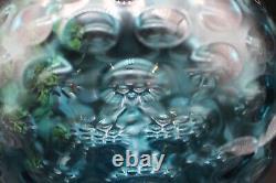 Mid Century Bohemian Borske Sklo Czech Art Glass Optic Olive Vase in Blue