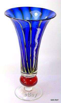Mid Century Italian Venetian Murano Art Glass Vase Blue Yellow Red Strips 12