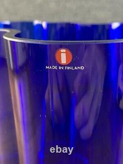 Mid Century Modern 1991 Iittala Alvar Aalto Malja Collection Savoy Blue Vase