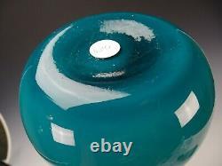 Mid Century Modern 60s Guildcraft Murano Empoli Cased Blue Glass Vase 20