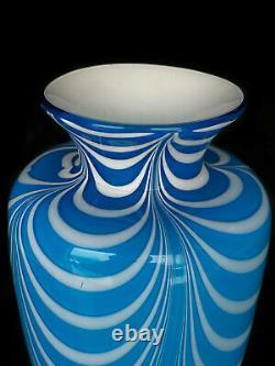 Mid-Century Modern Atomic Art Glass Blue & White Swirl Flared Vase