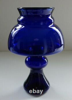 Mid Century Modern Cobalt Blue Scandinavian Art Glass Vase unusual