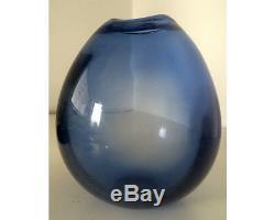Mid Century Modern Holmegaard Per Lutken Sapphire Blue Small Drop Art Glass Vase