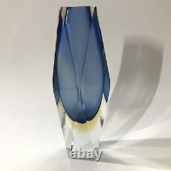 Mid Century Modern MCM Murano Sommerso Faceted Glass Vase Blue 8