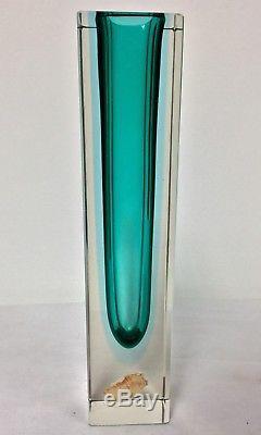 Mid Mod 1960s Sommerso Blue Green Square Cut Murano Mandruzzato Glass Vase Label
