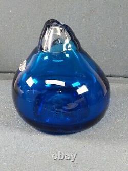 Mid-century Modern 1970s Vintage Rare BLENKO Blue bottle by Don Shepherd signed