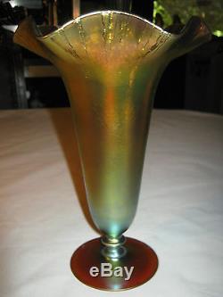 Mint! Antique Art Deco 8 1/4 Steuben # 312 Blue Gold Aurene Glass Flower Vase
