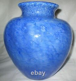 Mint! Antique Art Deco Steuben USA Sea Blue Cluthra Bubble Glass Flower Vase