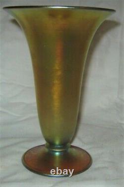 Mint! Antique Art Deco USA 6 1/8 Steuben # 2909 Gold Aurene Glass Flower Vase