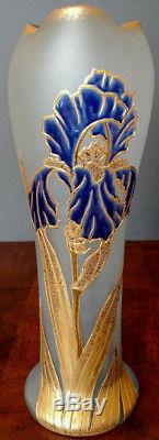 Mont Joye/Legras Art Glass Tall Vase Blue Satin Gold & Dark Blue IRIS Flower