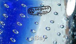 Monumental 15.5 Vintage Italian Murano Art Glass Bullicante Vase Seguso Label