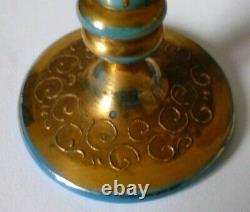 Moser 1870's Pair Of Small Gilt Enamel Turquoise Opaline Glass Bud Spill Vases