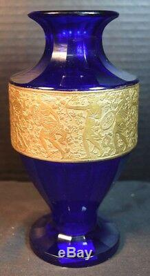 Moser Art Deco Cobalt Blue Glass, Gold Frieze Vase