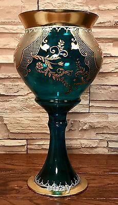 Moser Bohemian Enamel & Gilded Floral Cobalt Glass Mantelpiece Pedestal Vase