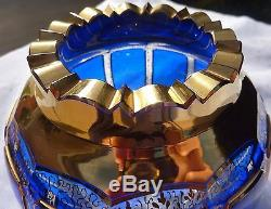 Moser Cobalt Blue Gold Cabochon Art Glass Bowl Vase Vintage Czech Bohemian