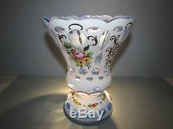 Moser Vase Bohemian White Cut to Blue Overlay Czech Glass Haida Novy Bor Bohemia