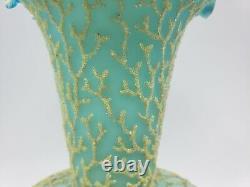 Mt Washington Cased Blue Satin Uranium Glass Coralene Seaweed 8 Vase 1885-1890