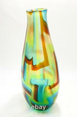 Murano Afro Celotto Green, Brown, Blue Striped Modernist Art Glass Vase, 2001