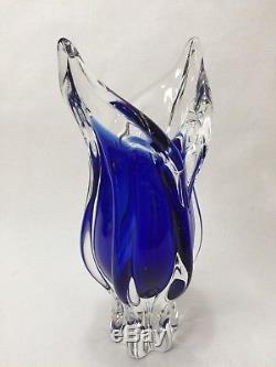Murano Art Glass Cobalt Blue & Clear Vase, 11 1/4 Tall x 5 Widest, 4 Lbs