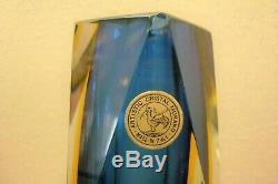 Murano Artistic Cristal Sommerso Blue Yellow Triple Overlay Abstract Block Vase