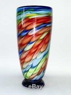 Murano Colorful 15 Tall Light Blue & Red & Lime Green Glass Vase