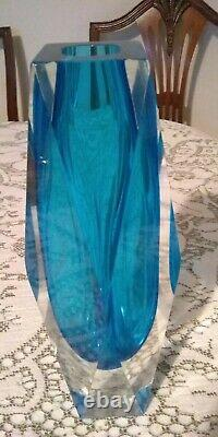 Murano Geode Sommerso faceted glass vase blue 9 / 23 cm high