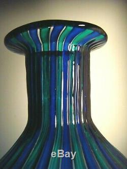 Murano Gio Ponti attr. Venini Glass a Canne Striped Bottle Vase