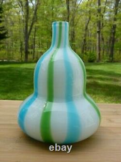 Murano Glass Blue Green Striped Double Gourd Vase