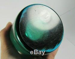 Murano Glass Cylinder Vase Green Amber Blue Sommerso Mid-Century Modern Art