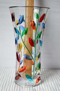 Murano Glass Large Flower Crystal Vase Made in Italy