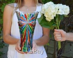 Murano Glass Large Starburst Vase Hand Painted, Made in Italy