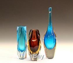 Murano Glass Raymor MCM Italian Blue Vintage Foil Label Sapphire Bottle Vase 13