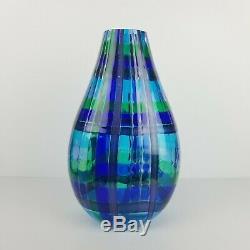 Murano Glass Vase Blue Green Plaid Italian Optic Raffael Eros Contemporary 13in