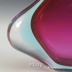 Murano Pink & Blue Sommerso Glass Vintage Stem Vase