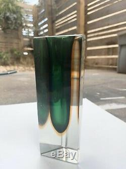 Murano Sommerso Glass Vase Set Green Blue Red, Three Four & Five Sided Vintage