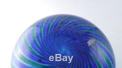 Murano Venini 1994 Vintage Green and blue a canne signed tall Vase Glass Spiral