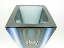 Murano block facet cut Murano blue grey Mandruzzato art glass vase