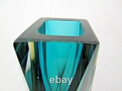 Murano gotham Sommerso faceted block vase green amber blue Vintage