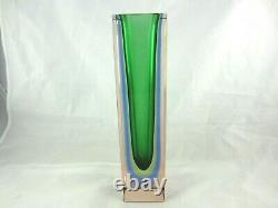 Murano green lime blue in pink sommerso block faceted glass column vase 29cm