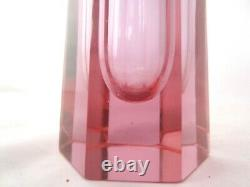 Murano sommerso faceted block vase 25cm Art Glass pink blue colour change