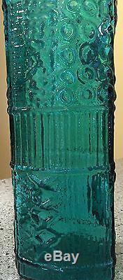 Myers Blenko Gorgeous Blue Green Color Art Glass Texture Vase
