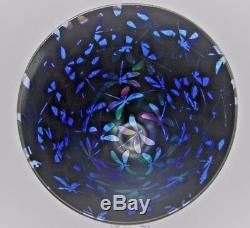 Neo Art Glass unique handmade dragonfly bowl blue & black signed K. Heaton