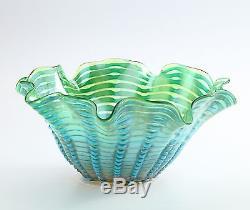 New 14 Hand Blown Glass Art Vase Bowl Blue Green Handkerchief Ruffle Decorative