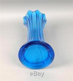 Northwood Mid-sized Thin Rib Celeste Blue Carnival Glass Vase With 4 3/4 Base