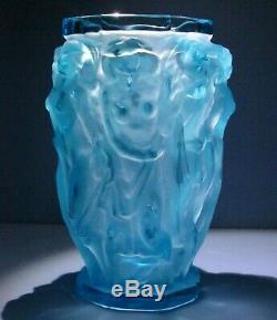 Nudes Bacchantes Teal Vase ZBS Halama Art Nouveau Deco Czech Bohemia Glass #446