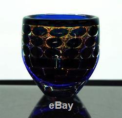 ORREFORS INGEBORG LUNDIN ARIEL 6h Mid-Century Modern Cobalt Glass Vase