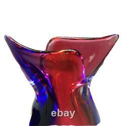 Oball Murano Art Glass Sommerso Bud Vase Luigi Onesto Cranberry Red Blue Signed