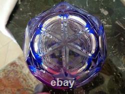 Ofnah Poland Cobalt Blue Hand Cut To Clear 12cased Crystal Vase Bohemian Ajka