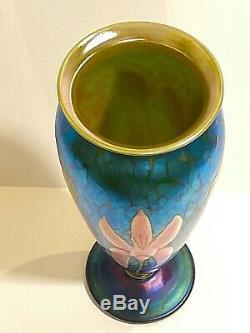 Orient & Flume Pink Spider Lily Art Glass Vase Estate Fresh