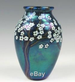 Orient & Flume Studio Hawthorne Blue Iridescent Landscape Art Glass Mantle Vase